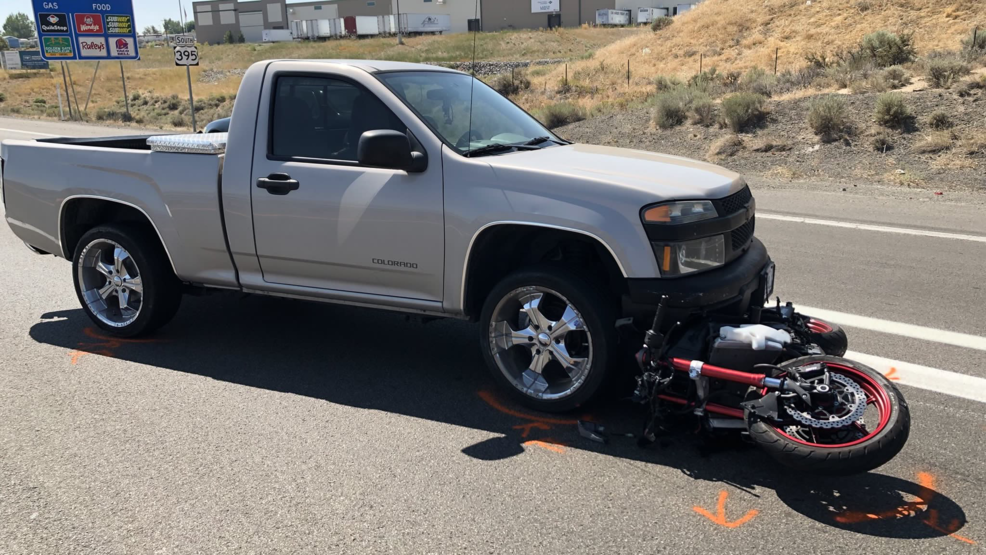 NHP responds to motorcycle vs  pickup truck crash on US-395 at